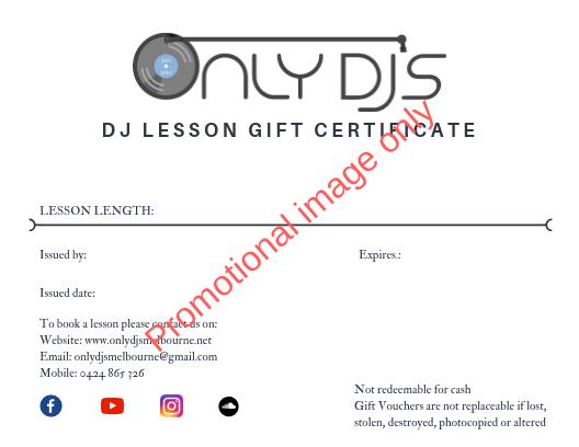 DJ lesson gift voucher