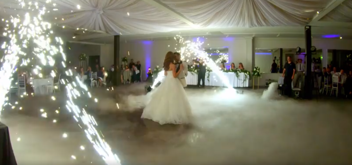 Dry ice & fireworks first dance